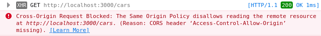 The image below illustrates the error message thrown in the browser console after a response is blocked